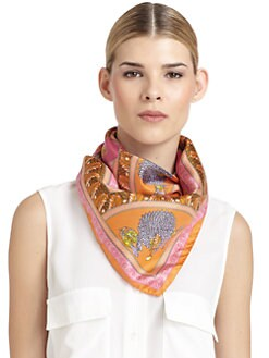 Versace - Silk Satin Asian Scarf/Orange & Pink