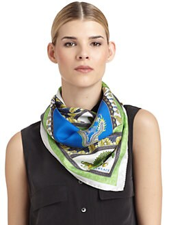 Versace - Silk Satin Asian Scarf/Green & Blue