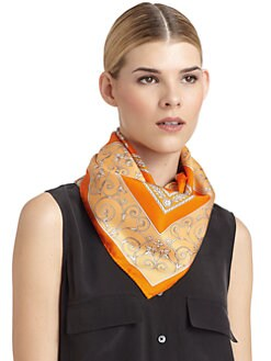 Versace - Silk Satin Roman Scarf/Orange