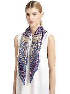 Versace - Silk Satin Roman Scarf/Blue & Purple