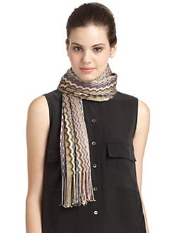 Missoni - Metallic Zigzag Scarf/Brown