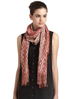Missoni - Metallic Trapezoid Scarf/Coral