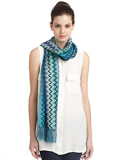 Missoni - Wide Zigzag Scarf/Blue