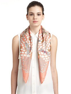 BLACK Saks Fifth Avenue - Pearl Brooch Silk Satin Scarf/Coral