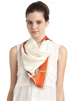 BLACK Saks Fifth Avenue - Nautical Pearl Silk Satin Scarf/Orange