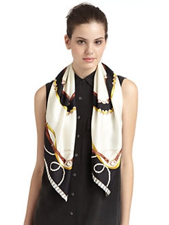 BLACK Saks Fifth Avenue - Nautical Pearl Silk Satin Scarf/Black