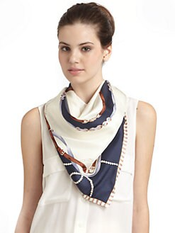 BLACK Saks Fifth Avenue - Nautical Pearl Silk Satin Scarf/Navy