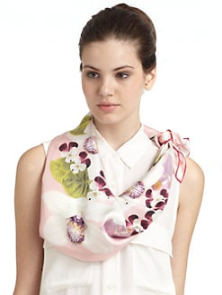 BLACK Saks Fifth Avenue - Tropical Floral Silk Satin Scarf/Pink
