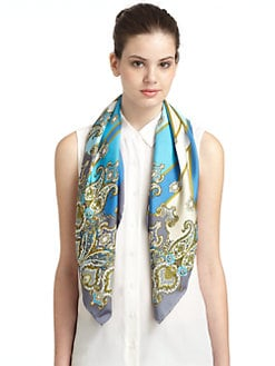 BLACK Saks Fifth Avenue - Paisely Silk Satin Scarf/Blue