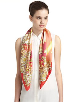 BLACK Saks Fifth Avenue - Paisely Silk Satin Scarf/Red