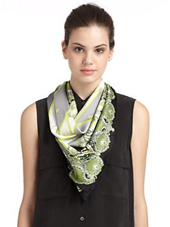 BLACK Saks Fifth Avenue - Paisely Silk Satin Scarf/Grey