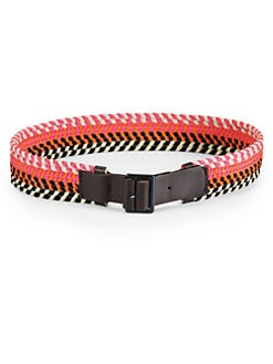 Alberta Ferretti - Woven & Leather Belt