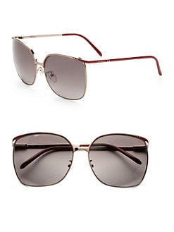 Givenchy - Oversized Square Metal Sunglasses/Red