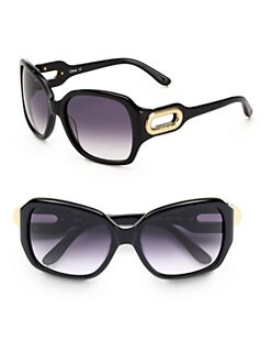Chloe - Square Acetate Open Oval Sunglasses/Black