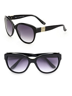 Chloe - Rounded Acetate Textured Logo Sunglasses/Black