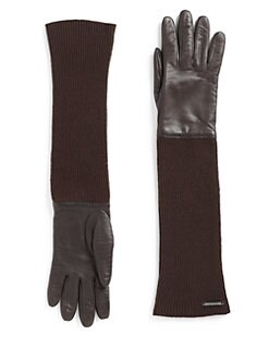 Costume National - Leather & Wool Long Gloves/Brown