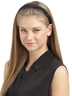 Cara Couture - Wide Rhinestone Leather Headband