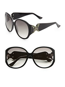 Judith Leiber - Butterfly Detail Round Acetate Sunglasses/Black