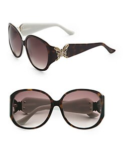Judith Leiber - Butterfly Detail Round Acetate Sunglasses/Brown