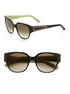 Judith Leiber - Floral Acetate Wayfarer Sunglasses/Brown & Black