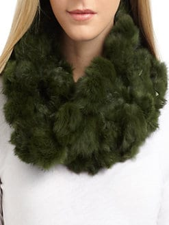 Adrienne Landau - Rabbit Fur Pompom Neck Warmer