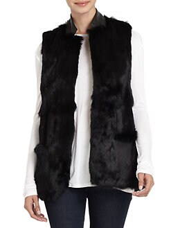 Adrienne Landau - Leather-Collar Rabbit Fur Vest