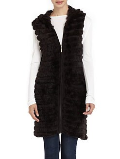Adrienne Landau - Hooded Rex Rabbit Fur & Knit Vest