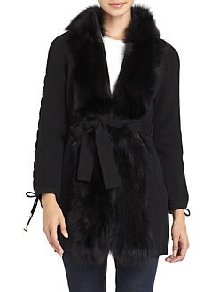 Adrienne Landau - Fox Fur Trim Knit Coat