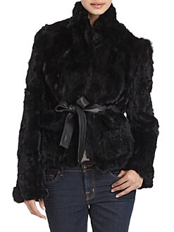 Adrienne Landau - Belted Rabbit Fur Jacket