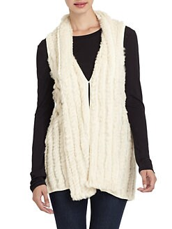 Adrienne Landau - Long Knit Rabbit Fur Vest