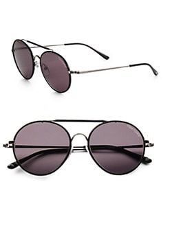 Tom Ford Eyewear - Samuele Metal Round Sunglasses/Black