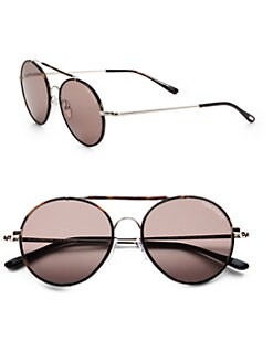 Tom Ford Eyewear - Samuele Metal Round Sunglasses/Dark Havana