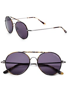 Tom Ford Eyewear - Samuele Metal Round Sunglasses/Yellow Havana