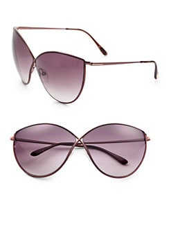 Tom Ford Eyewear - Evelyn Cat's-Eye Metal Sunglasses/Bronze
