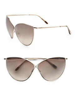Tom Ford Eyewear - Evelyn Cat's-Eye Metal Sunglasses/Rose Goldtone