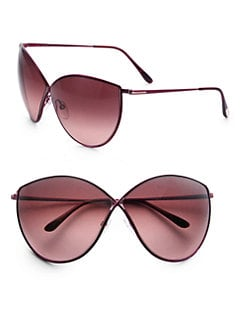 Tom Ford Eyewear - Evelyn Cat's-Eye Metal Sunglasses/Burgundy