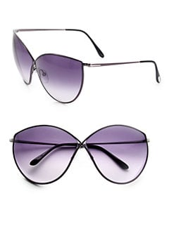 Tom Ford Eyewear - Evelyn Cat's-Eye Metal Sunglasses/Black