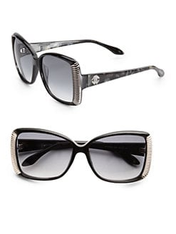 Roberto Cavalli - Alloro Oversized Square Acetate Sunglasses/Black