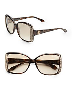 Roberto Cavalli - Alloro Oversized Square Acetate Sunglasses/Dark Brown