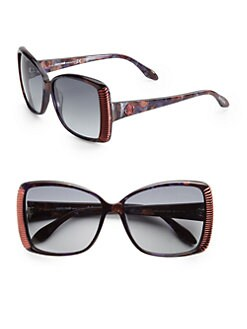 Roberto Cavalli - Alloro Oversized Square Acetate Sunglasses/Multi