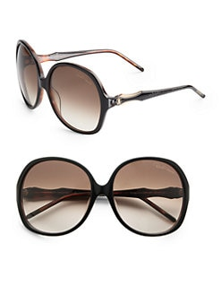 Roberto Cavalli - Bougainvillea Oversized Round Acetate Sunglasses/Brown & Black