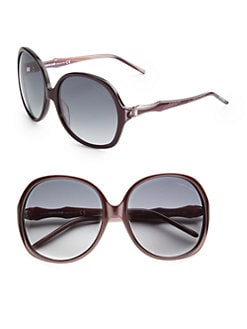 Roberto Cavalli - Bougainvillea Oversized Round Acetate Sunglasses/Dark Purple