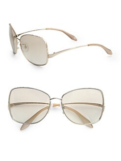 Roberto Cavalli - Menta Metal Square Aviator Sunglasses/Rose Goldtone