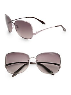 Roberto Cavalli - Menta Metal Square Aviator Sunglasses/Pale Rose