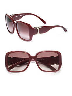 Chloe - Rectangular Acetate Sunglasses/Burgundy