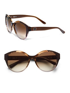 Chloe - Cat-Eye's Striped Acetate Sunglasses/Brown