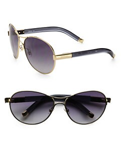 Chloe - Curved Metal & Acetate Aviator Sunglasses/Grey