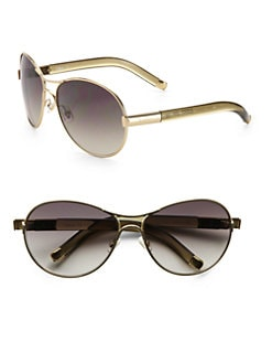 Chloe - Curved Metal & Acetate Aviator Sunglasses/Khaki