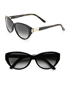 Chloe - Modified Cat's Eye Acetate Loop Sunglasses/Black