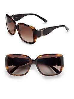 Chloe - Rectangular Acetate Sunglasses/Dark Tortoise